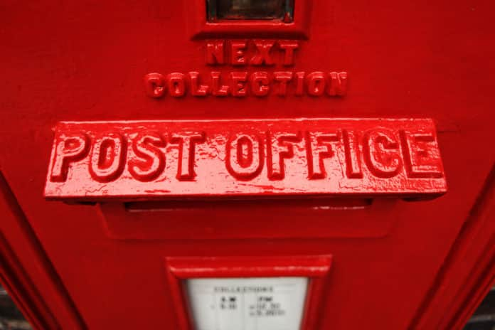 Red post office box.